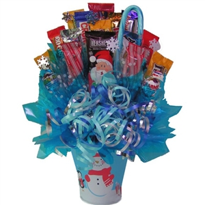 Holiday Snowman Bouquet - Candy Bouquets Gift Baskets and Gourmet Food