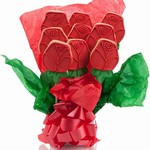 Red Roses Cookie Bouquet - Choose our 5, 7, 9 or 12 piece arrangement of Rose Sugar Cookies.