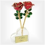 Loving Gold Trimmed Roses with Vase  - Two roses intertwine to symbolize the unique bond of love.