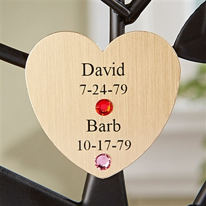 Family Tree Couple's Gold Heart Charm - Personalized Family Tree Sculpture Personalized Gifts