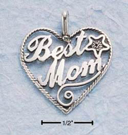 Antiqued Best Mom Heart Charm