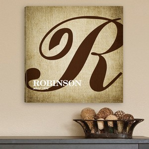 Personalized Calligraphy Monogram Accented Canvas Print