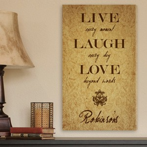 Personalized Live Every Moment Quote Accented Canvas Sign