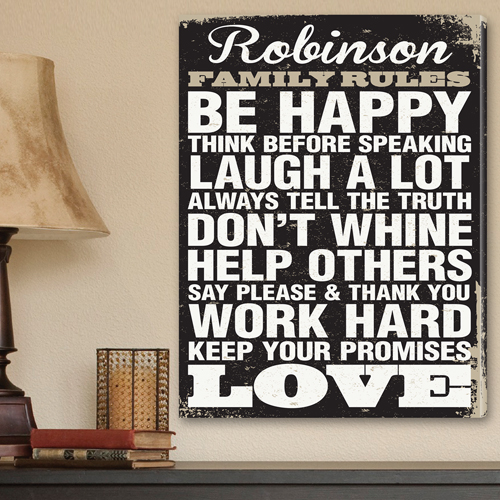 Antique Style Family Rules Canvas | Personalized Canvas | Family ...