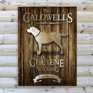 Personalized Rustic Wood Textured Cabin Canvas Sign