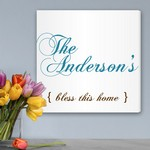 Bless This Home Personalized Canvas Sign
