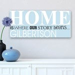 Customized - Home is where Our Story Begins Text Detailed Canvas Print Sign
