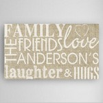 Customized Family & Friends Theme Accented Canvas Sign