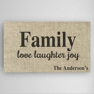 Personalized Canvas Sign with Love, Laughter and Joy Family Theme