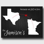Personalized Because We Fell In Love Black Canvas