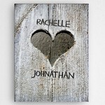 Personalized Hand Carved Heart Canvas
