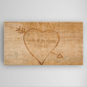 Personalized Cupids Heart and Arrow Canvas