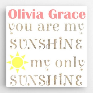 Personalized Sunshine Text Accented Canvas Sign for Girls