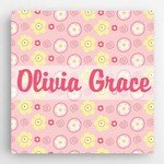 Personalized Floral Pattern Accented Canvas Sign for Girls