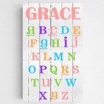 Personalized Colorful ABC Alphabet Accented Canvas Sign