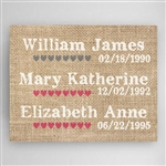 Personalized Burlap Style Our Kids Canvas Sign