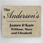 Personalized Our Family Burlap Background Canvas Sign
