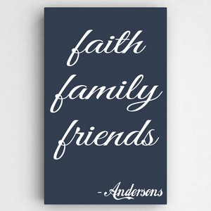Customized Family and Faith Text Accented Navy Canvas Sign