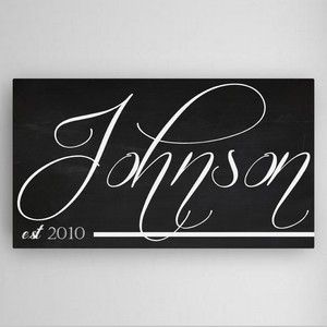 Customized Family Chalkboard Calli Style Canvas Sign
