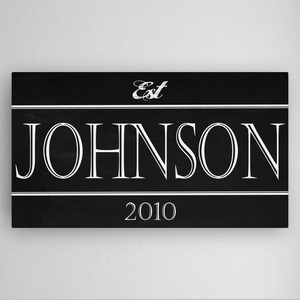 Personalized Family Chalkboard Modern Block Style Canvas Sign