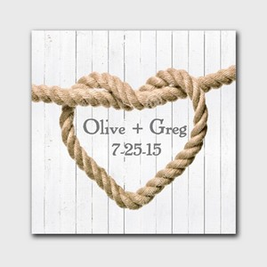 Personalized Knot Design Couple Canvas Sign in White
