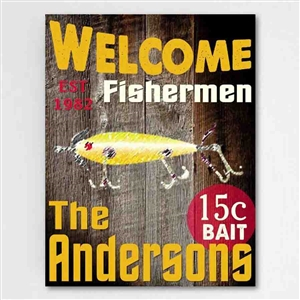 Customized Fishermen Graphic and Text Accented Canvas Sign