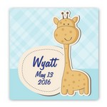 Customized Baby Giraffe Graphic Accented Canvas Sign for Boys