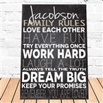 Personalized Family Love Rules Theme Canvas Sign