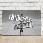 Black & White Intersection Street Sign Accented Customized Canvas