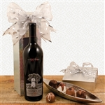 A bottle of Silver Oak Cabernet in a Silvery Wine Gift Box with Truffles