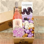 Gift box with a Grand Louis Bordeaux Rose Wine, Truffles and a Pink Sprinkled Iced Sugar Cookie