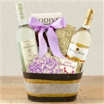 Basket with 2 bottles of White Wine, with gourmet treats for Mothers Day!