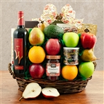 Kosher Certified Gift Box with Red Wine, Fruit, and Snacks