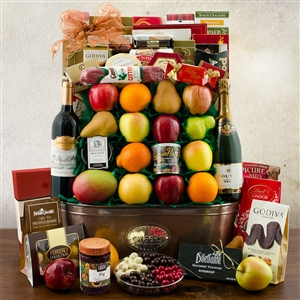 Large Fruit and Gourmet Basket with a bottle of Champagne and a bottle of Wine