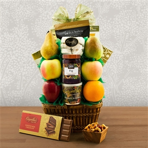 A wicker basket a filled with fruit and Kosher certified nuts, cheese and crackers