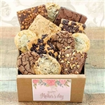 A bakery crate filled with cookies, brownies and blondies, with a Happy Mothers Day label!