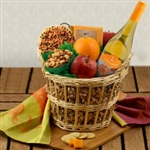 Autumn Decorated Cookie, Fruit, Nuts and White Wine Basket