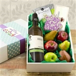 Box of Premium Fresh Fruit, Cookie, Chocolates and a Bottle of Wine for Mothers Day