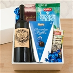 Kosher Certified Gift Box with Noah Estate red wine combined with chocolate and nuts.