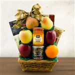Kosher Certified Gift Box with 6 pieces of fruit, raw honey, and snacks in a willow basket. Rosh Hashanah Gift.