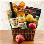 Kosher Certified Gift Basket with Israeli wine, Fruit, Honey, Chocolate and snacks.