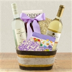 Basket with 2 bottles of White Wine, with gourmet treats for a Pink Ribbon Cancer Awareness presentation