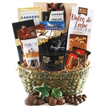 Straw basket filled with kosher gourmet chocolate treats