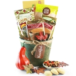 Burlap covered bucket with thankful hangtag and gourmet treats inside