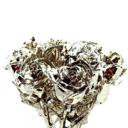 12 Silver Roses, Dozen Silver Dipped Roses