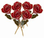 Half Dozen Gold Trimmed Roses in Color of Your Choice