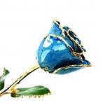 "Blue 12"" stemmed rose preserved in Lacquer and trimmed in 24 karat Gold"