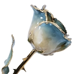 Blue Two-Toned Rose Preserved Forever and Trimmed in 24K Gold