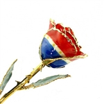 Patriotic Red White And Blue Themed Rose Trimmed in 24K Gold