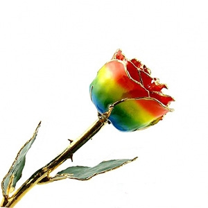Rainbow Lacquered and Gold Rose